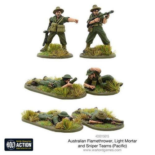 Bolt Action: Australian Flamethrower, Light mortar and Sniper teams