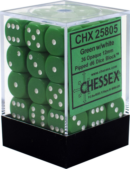 Opaque 12mm d6 Green/White Dice Block (36 dice)