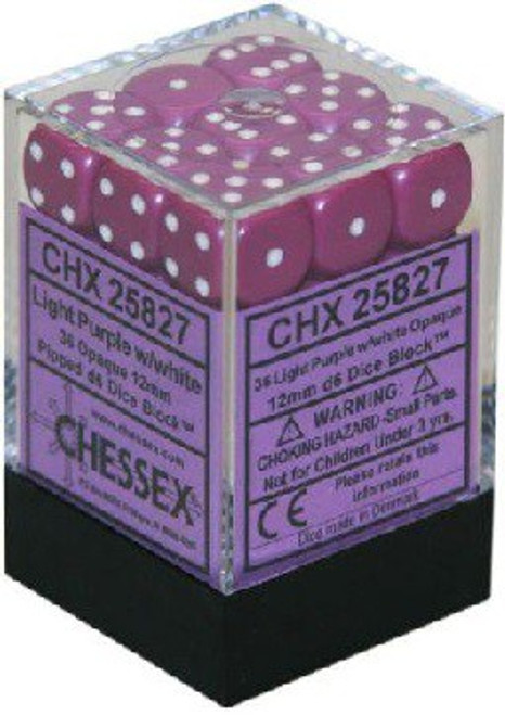 Opaque 12mm d6 Light Purple/White Dice Block (36 dice)