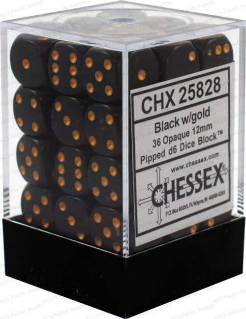 Opaque 12mm d6 Black/Gold Dice Block (36 dice)