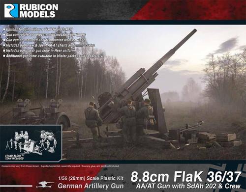 8.8cm FlaK 36/37 AA/AT Gun with SdAh 202 & Crew