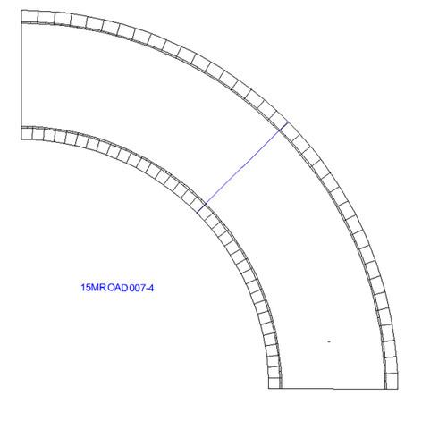90 Degree Curve, 4 Lane Road - 15MROAD007-4
