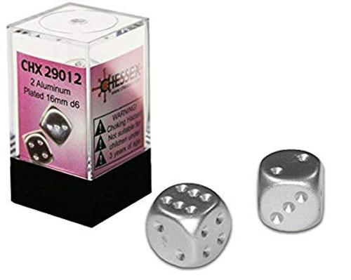 Aluminum Metallic 16mm D6 Dice Pair