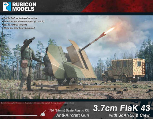 Rubicon Models 3.7cm FlaK 43 with SdAh 58 Trailer and Crew  (1:56th scale / 28mm)