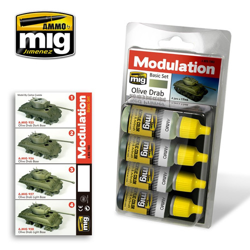 AMMO: Acrylic Paint Set - (Smart Modulation) Olive Drab Modulation