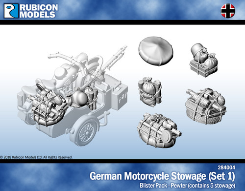 German Motorcycle Stowage (Set 1)- Pewter