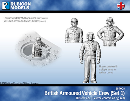British Armoured Vehicle Crew (Set 1)- Pewter
