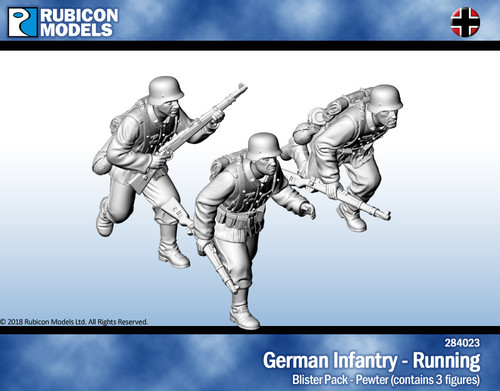 German Infantry Running- Pewter