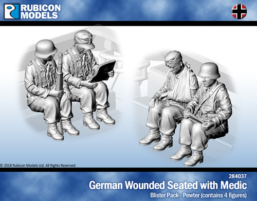 German Wounded Seated with Medic- Pewter