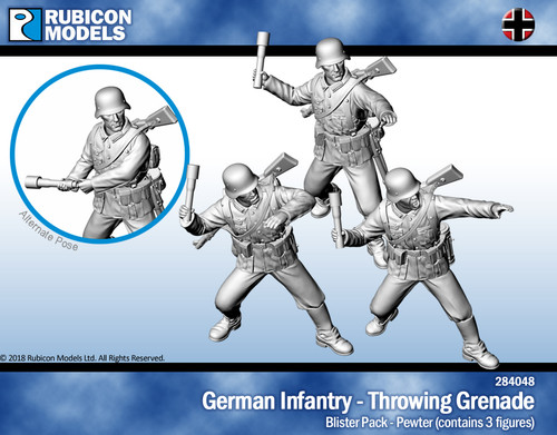 German Infantry Throwing Grenade- Pewter