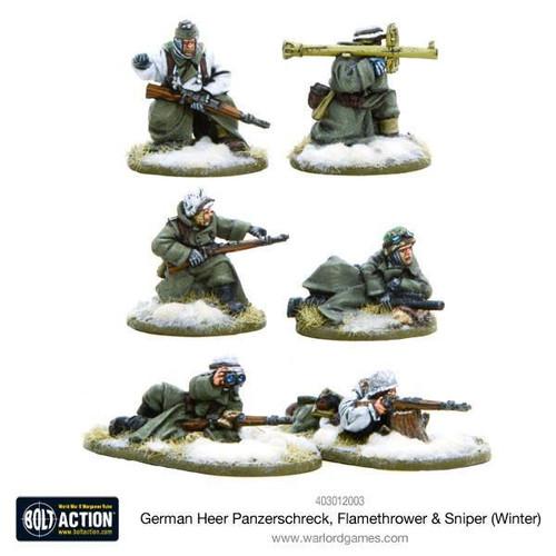 Bolt Action: German Heer Panzerschreck, Flamethrower & Sniper teams, Winter