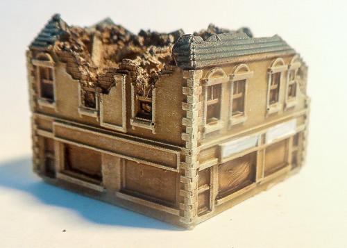 6mm Ruined Corner Building - 285VAC004