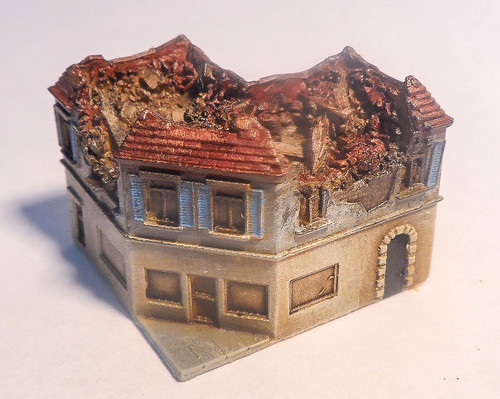 6mm Ruined Corner Building - 285VAC005