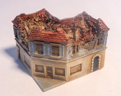 6mm Ruined Corner Building - 285VAC005
