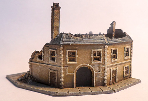 6mm Ruined Corner Building - 285VAC006