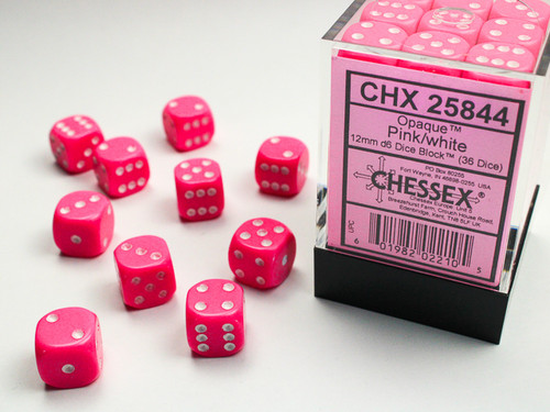 Opaque 12mm d6 Pink/white Dice Block (36 dice)
