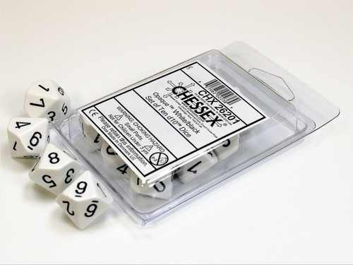 Opaque White/black Set of Ten d10s