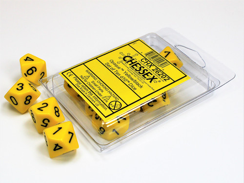 Opaque Yellow/black Set of Ten d10s