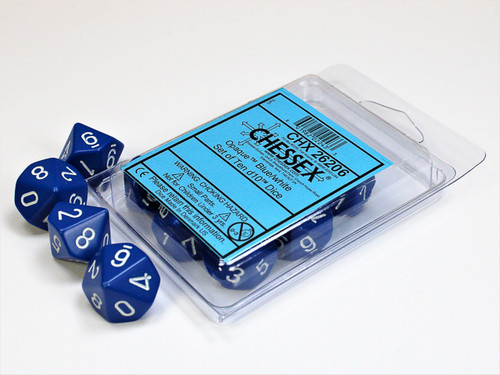 Opaque Blue/white Set of Ten d10s