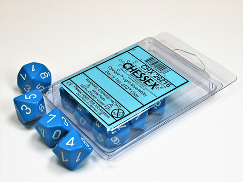 Opaque Light Blue/white Set of Ten d10s