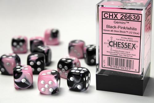 Gemini 16mm d6 Black-Pink/white Dice Block (12 dice)