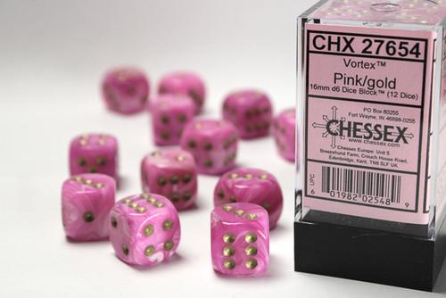 Vortex 16mm d6 Pink/gold Dice Block (12 dice)