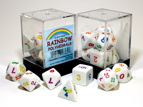Polyhedral Opaque White w/ Rainbow 7-die set in Plastic box