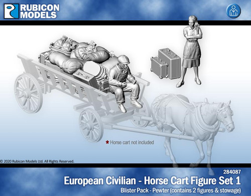 European Civilians Horse Cart Figure Set 1- Pewter
