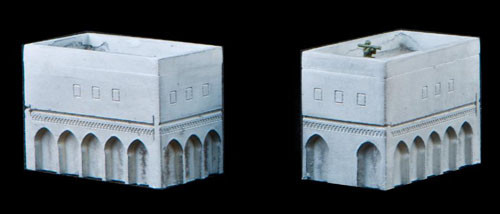 2 Story Buildings with Walled Rooftop (Resin) - 285MEV022