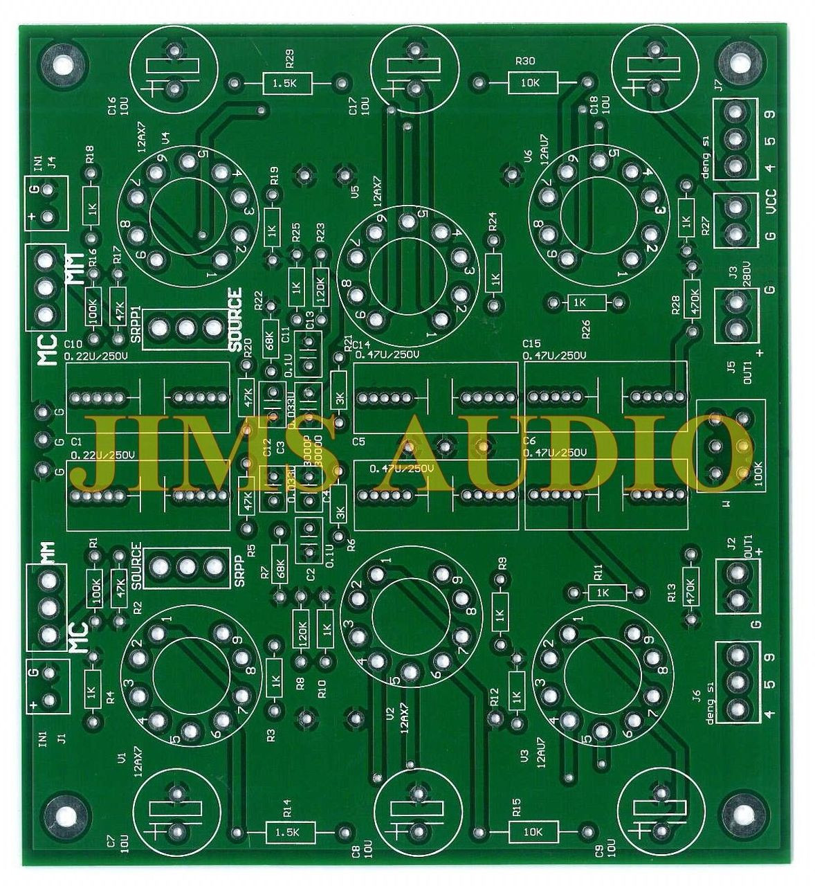 Tube SRPP RIAA and line preamplifier stereo PCB !