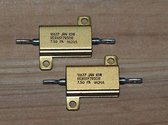 Vishay Dale 91637 7.5ohm 10W 1% mil grade power resistor 2 pieces !