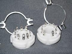9-pin Ceramic Based Tube Socket GZC9-2-F 2 pieces for 6JB6, 6JG6, 6JE6, 6KG6 !!