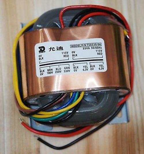 R-core transformer in 115-230V out 180/250/330 6.3Vx2 w/copper shield for preamp