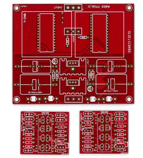 Modular J-FET preamplifier JC-2 w/JFET buffer o/p compact PCB stereo !