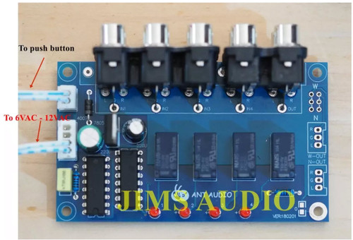 4-way stereo audio channel input selector board using push button assembled !