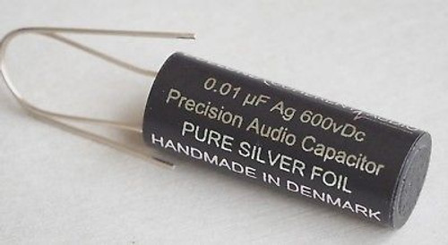 Duelund 0.01uF 600Vdc Silver (Ag) Foil & Wax/Oil Precision BYPASS Capacitor 1pc