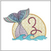 "Mermaid ABC's - Z - Fits in a 5x7"" Hoop - Instant Downloadable Machine Embroidery"