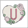 "Heart Monogram  ABCs - U - Fits a 4x4"" Hoop - Machine Embroidery Designs"