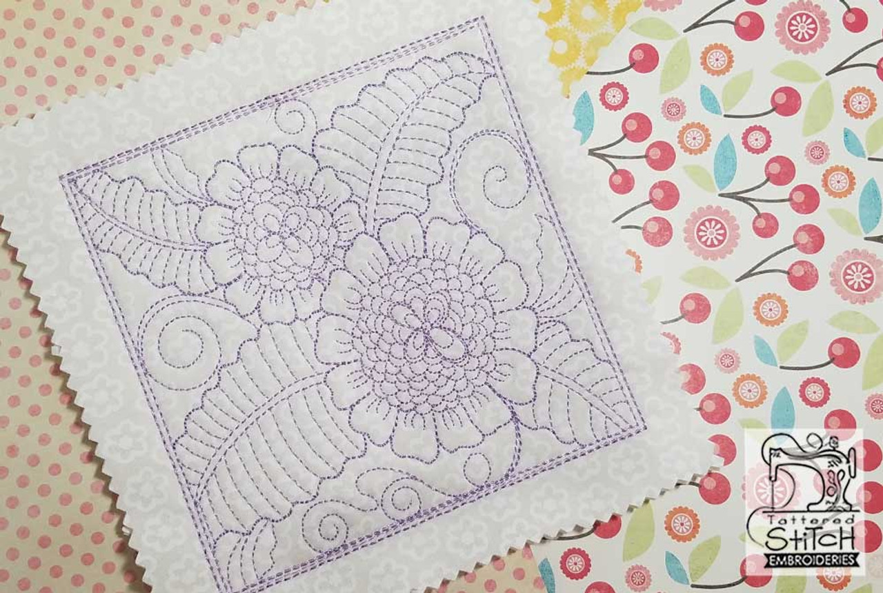 Peony Quilt Block Multiple Sizes In The Hoop Continuous Line