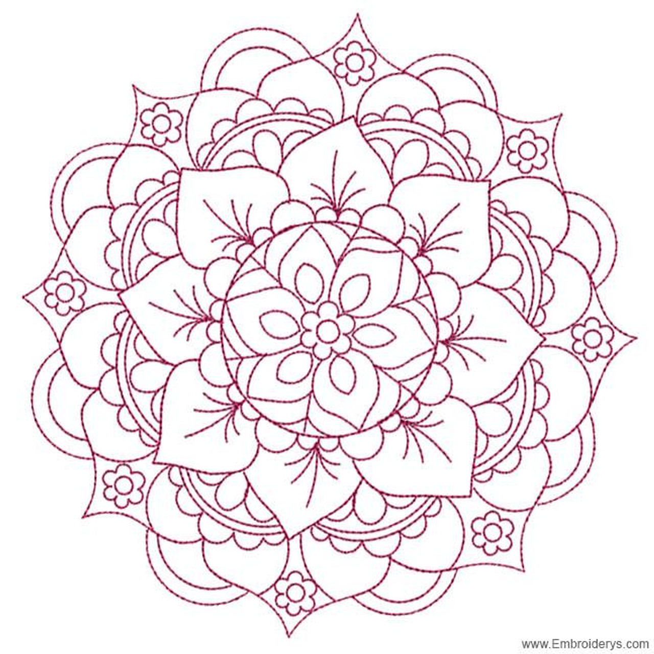 Mandala Medallion Redwork