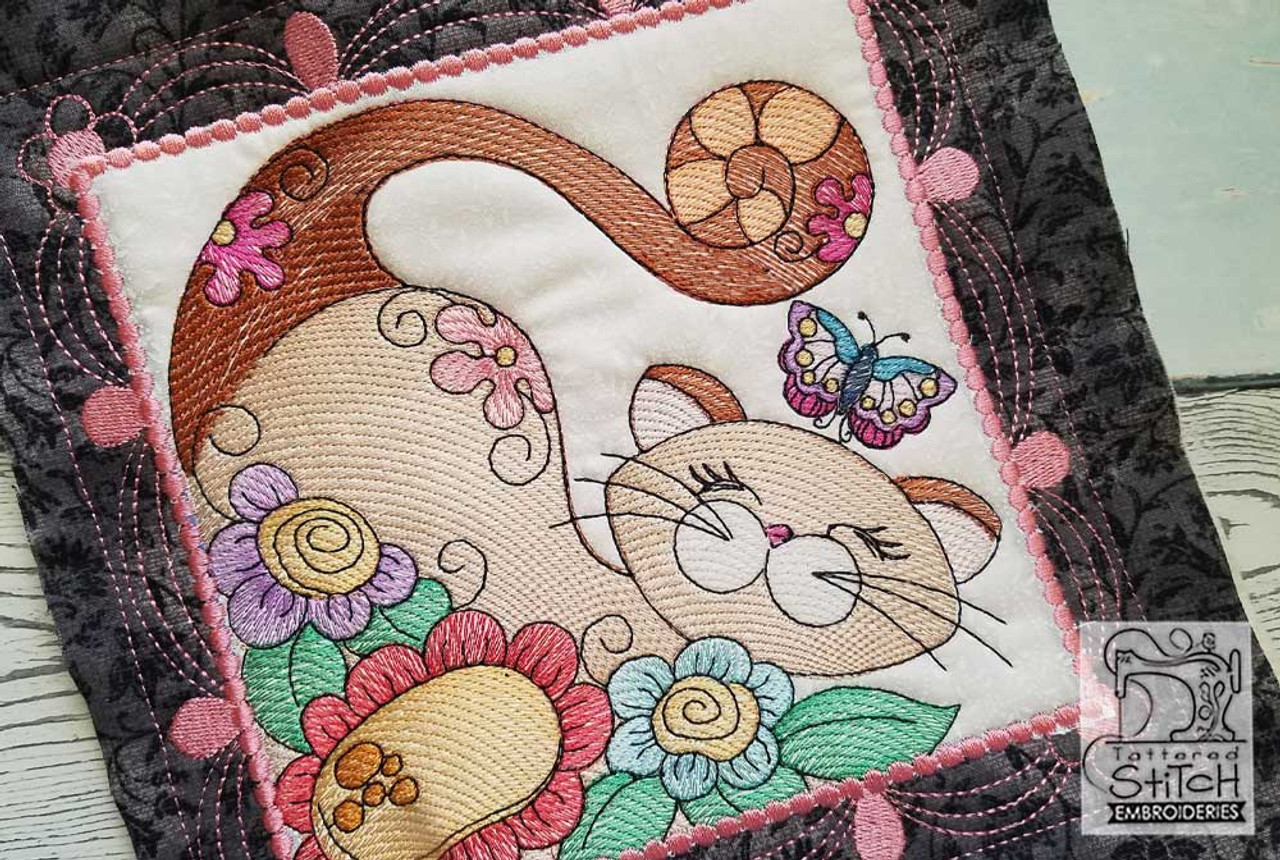 The Cats Quilt Blocks 5x5 in the hoop machine embroidery designs