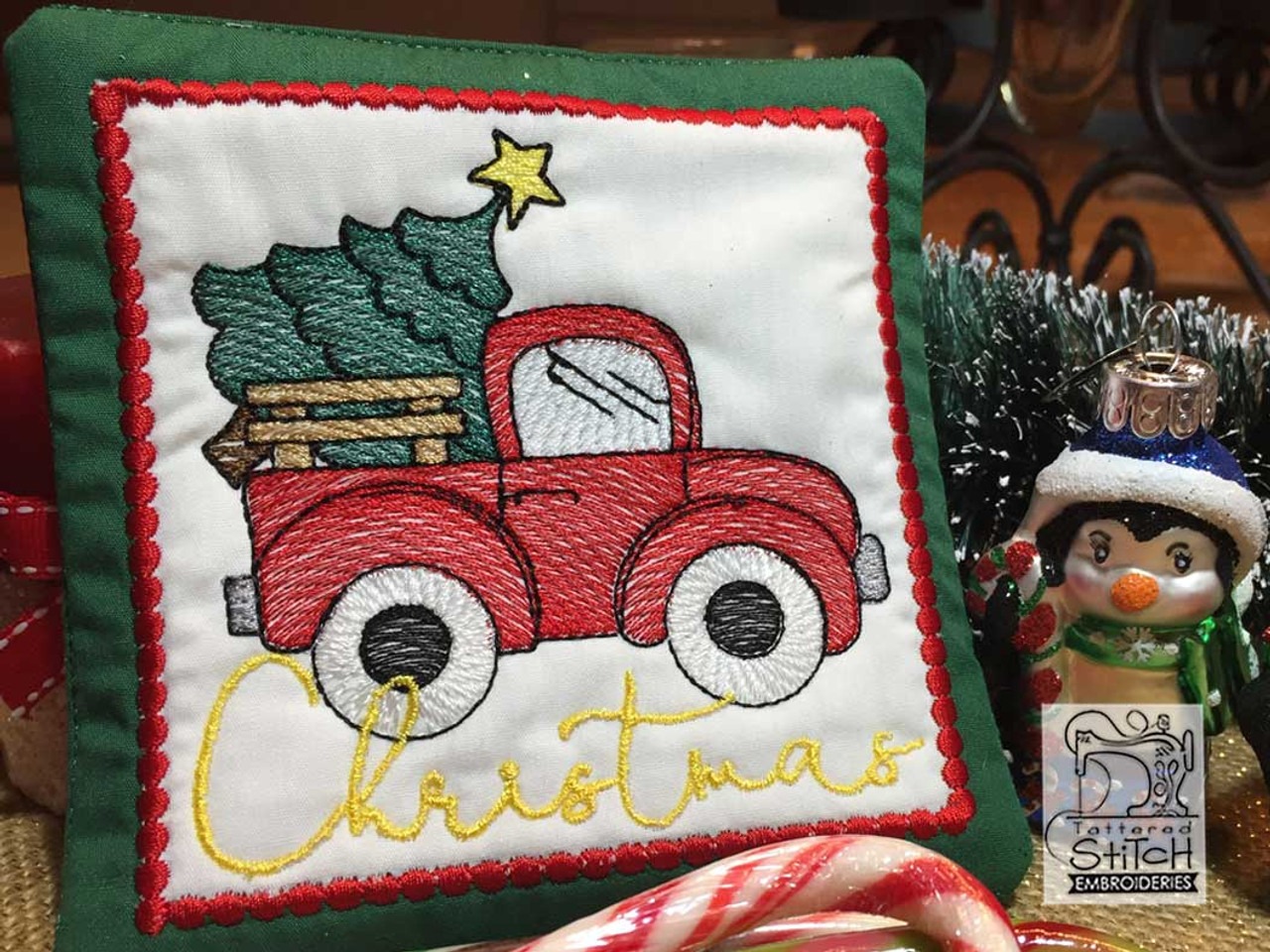 Red Truck Christmas Coaster Fits A 5x7 Hoop Machine Embroidery Designs Tattered Stitch Embroideries