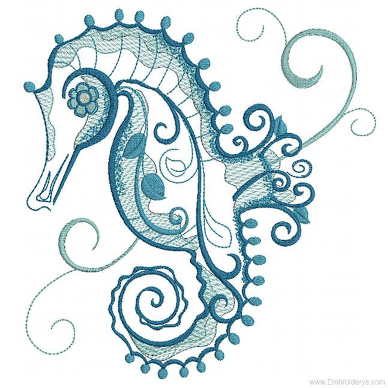 Wise Beautiful Seahorse Embroidery Designs