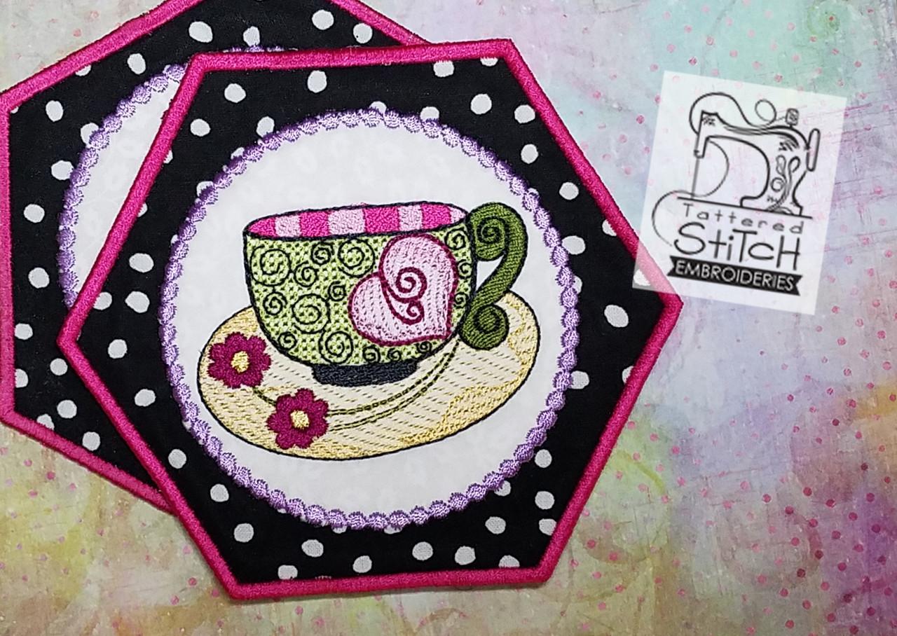 Whimsy Teacup 3 Mug Rug Coaster Embroidery Designs