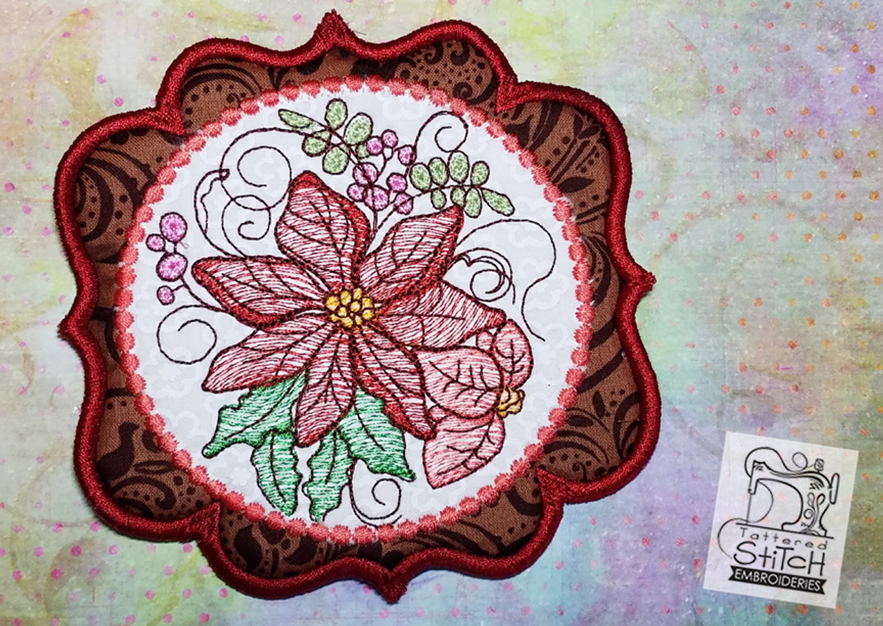 Poinsettia Mug Rug/Coaster - Machine Embroidery Design  5x7 In The Hoop  Instant Download  In the hoop  Holiday Coaster Gift Giving