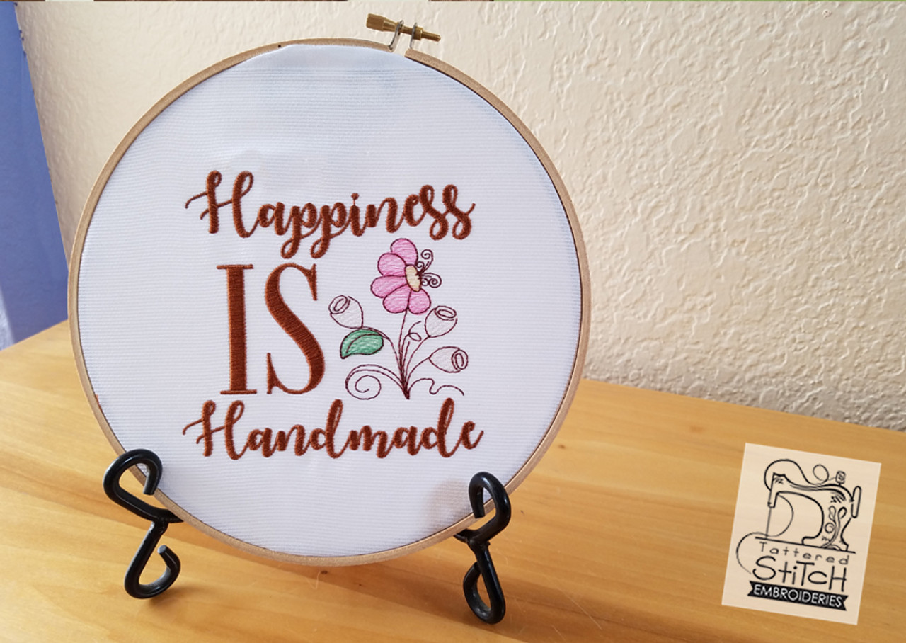 Happiness is Handmade - Machine Embroidery Design  4 x 4 and 5 x 7