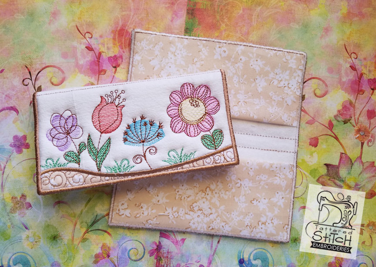 Spring Flowers Checkbook Cover In The Hoop Machine Embroidery