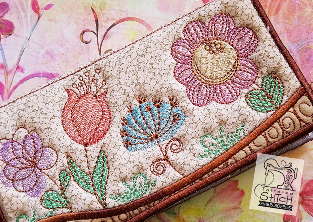 Spring Flowers Checkbook Cover In The Hoop Machine Embroidery Design 6 X 11 Hoop Instant Download Tattered Stitch Embroideries