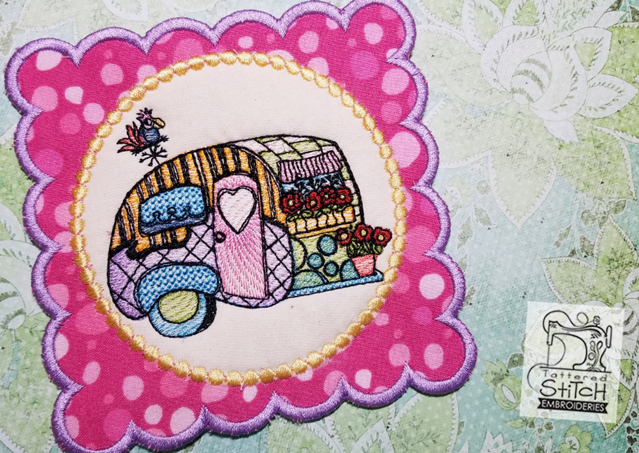 Vintage Camper Mug Rug/Coaster - Machine Embroidery Design  5x7 In The Hoop  Instant Download