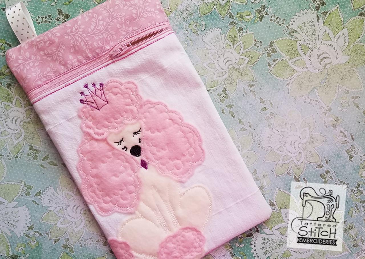 Poodle Zip Bag - In the Hoop - Machine Embroidery Design  6x10 Hoop Instant  Download  Zipper Bag - WITH LINING
